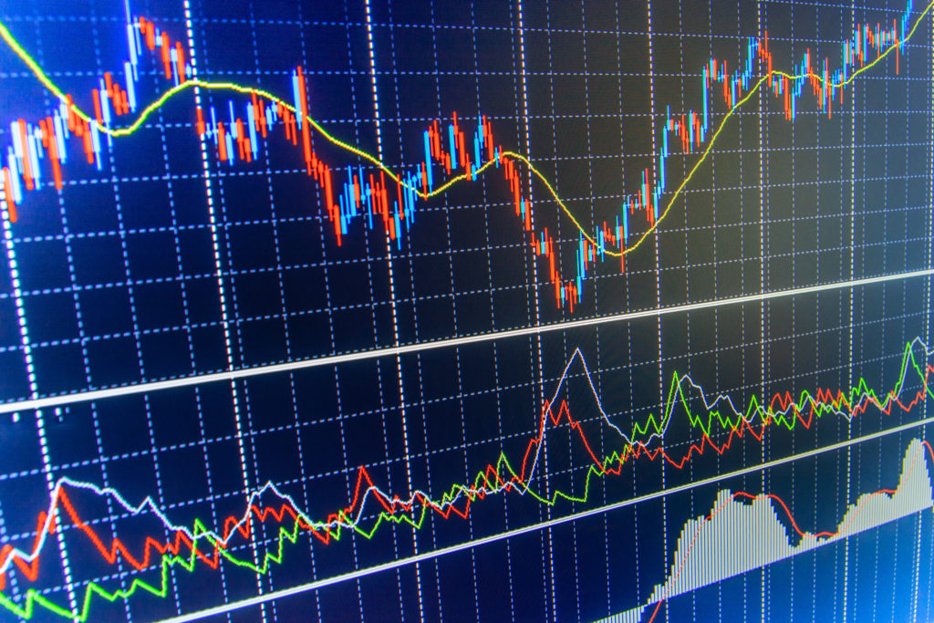 Professional market analysis. Business analysis diagram. Conceptual view of the foreign exchange market. Price chart bars. Tools of technical analysis. Analysing stock market data on a monitor.